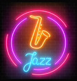 neon jazz cafe with saxophone glowing sign with vector image vector image