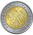 obverse Polish Money five zloty coin vector image vector image