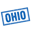 Ohio blue square grunge stamp on white vector image vector image