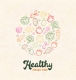 organic food concept color outline vegetable icons vector image