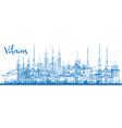 Outline Vilnius Skyline with Blue Landmarks vector image vector image