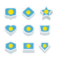 palau flags icons and button set nine styles vector image vector image