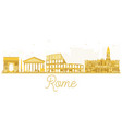 Rome city skyline golden silhouette