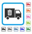 rubbish transport van framed icon vector image vector image
