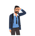 sad man tired depressed person with headache vector image