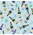 seamless pattern bottles of wine and glasses vector image vector image