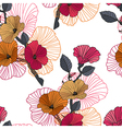 Seamless red orange and black floral pattern vector image