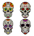 set colorful sugar skull isolated on white vector image vector image