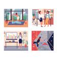 set confident women girls do yoga climbing vector image vector image