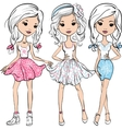 set fashion cute happy girls vector image vector image