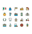 set italian culture flat color line icons vector image