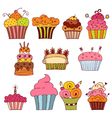 set of delicious cupcakes vector image