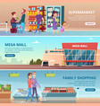 shopping banners people in grocery food market vector image vector image