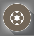 soccer ball sign white icon on brown vector image vector image