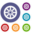 sprocket from bike icons set vector image vector image