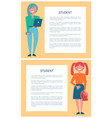 student girls set of posters cartoon schoolgirls vector image vector image