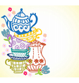 tea cup background with teapot vector image vector image