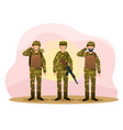three army men are standing in camouflage combat vector image