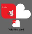 valentine card with pig vector image vector image