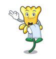 waiter daffodil flower mascot cartoon vector image vector image