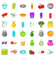 wellness fit icons set cartoon style vector image vector image