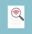 wi-fi icon magnifying glass vector image