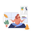 woman meditating at home yoga lady in room vector image