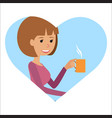 woman with cup in her hand drinking hot coffee vector image vector image