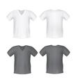 White black mens t-shirt short front back views vector image