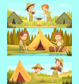 scouts activities cartoon banners set vector image