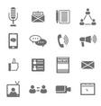 social media black icons set vector image