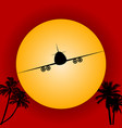 airplane silhouette over red sky and sun vector image vector image