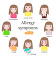 allergy symptoms flat style design vector image vector image