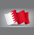 bahrain red and white waving flag icon isolated vector image vector image