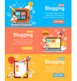 blogging flyer banners posters card set vector image vector image