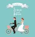 bride and groom on tandem bicycle wedding day vector image