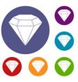 brilliant gemstone icons set vector image