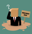 Cardboard businessman sinking in a quicksand vector image