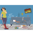 Cleaning a messy room vector image vector image