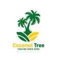 coconut tree logo on beach vector image vector image