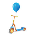 colored roller scooter for children and balloon vector image vector image