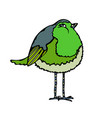 cute adorable green bird isolated on a white vector image vector image