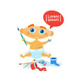 cute baby boy painting toddler happy cartoon vector image