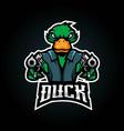 duck put a gun for esport team logo design vector image vector image