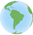 earth globe with focused on south america vector image vector image