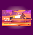 enjoy moment banner with man in boat at sunset vector image vector image