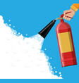 fire extinguisher in hand with foam vector image vector image