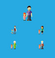 flat icon relatives set of grandpa boys daugther vector image vector image