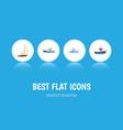 flat icon vessel set of sailboat transport boat vector image vector image