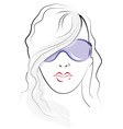 girl face sketch vector image vector image